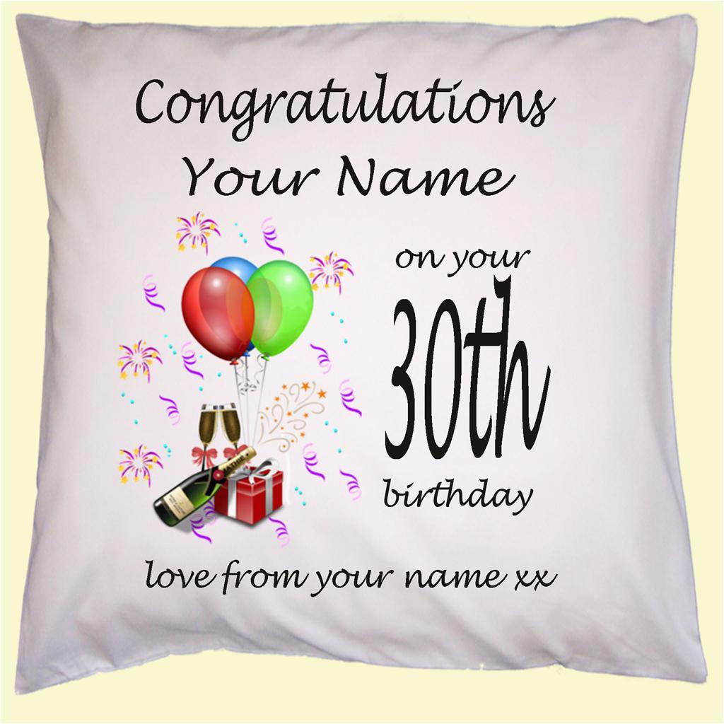 personalised 30th 40th 50th 60th birthday gift cushion