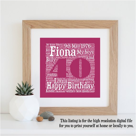 personalised 40th birthday gift printable 40th by