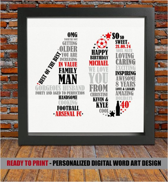Personalised 40th Birthday Gifts For Her Personalized Gift Him By Blingprints