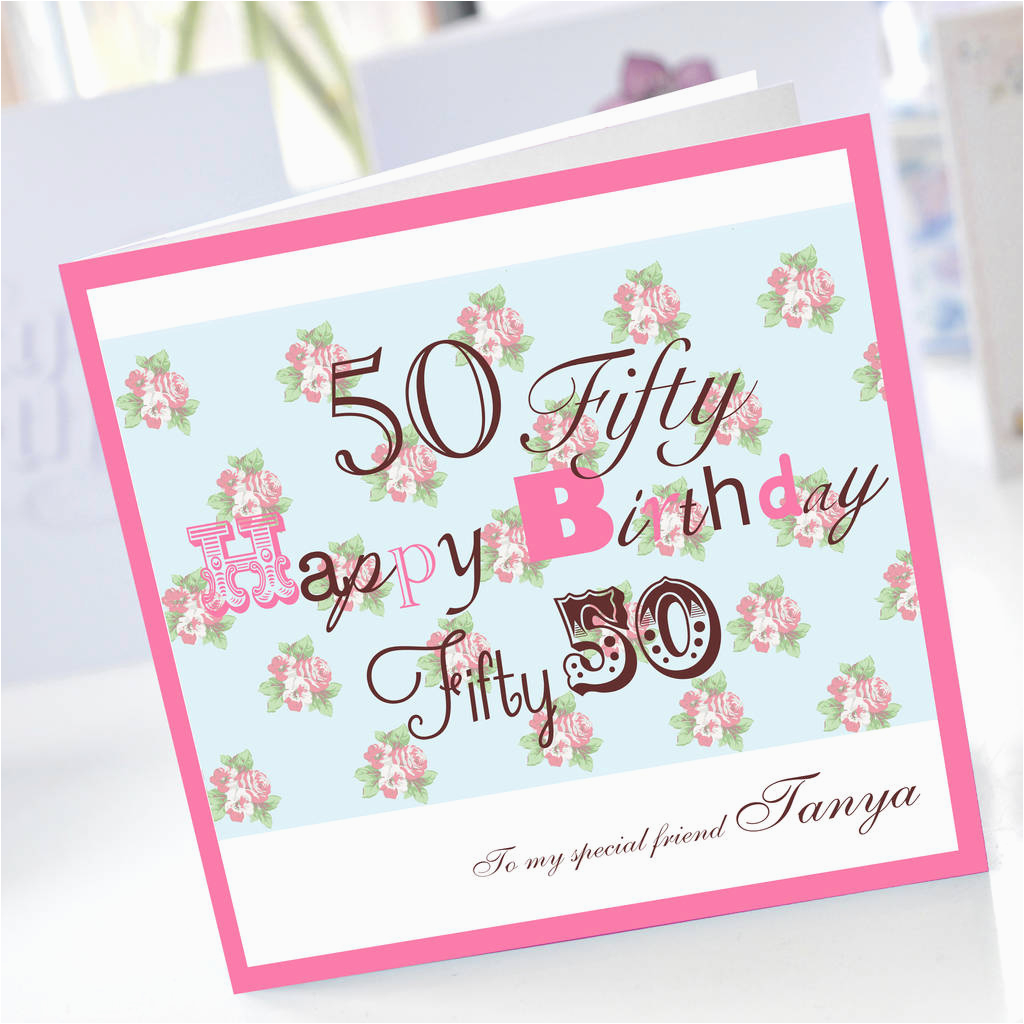 Personalised 50th Birthday Card By Amanda Hancocks