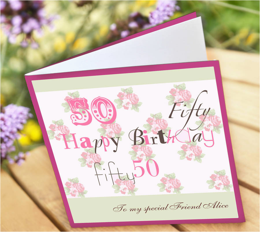 Personalised 50th Birthday Cards for Her Personalised 50th Birthday Card by Amanda Hancocks