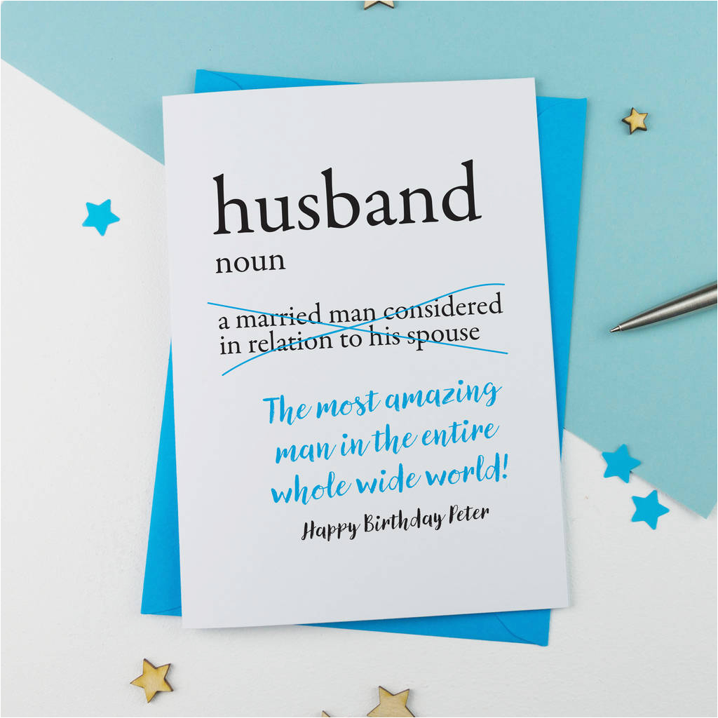 Personalised Birthday Cards for Husband Personalised Dictionary Birthday Card for Husband by A is