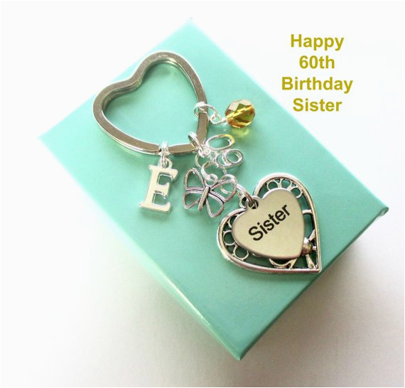 Personalised Gifts For Her 60th Birthday Gift Sister Keyring