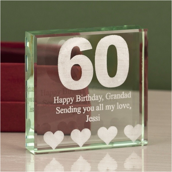 Personalised Gifts for Her 60th Birthday Personalised 60th Birthday Keepsake Engraved Glass Gift