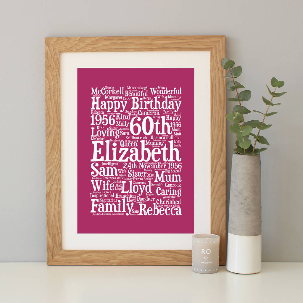personalised 60th birthday word art gift by hope and love