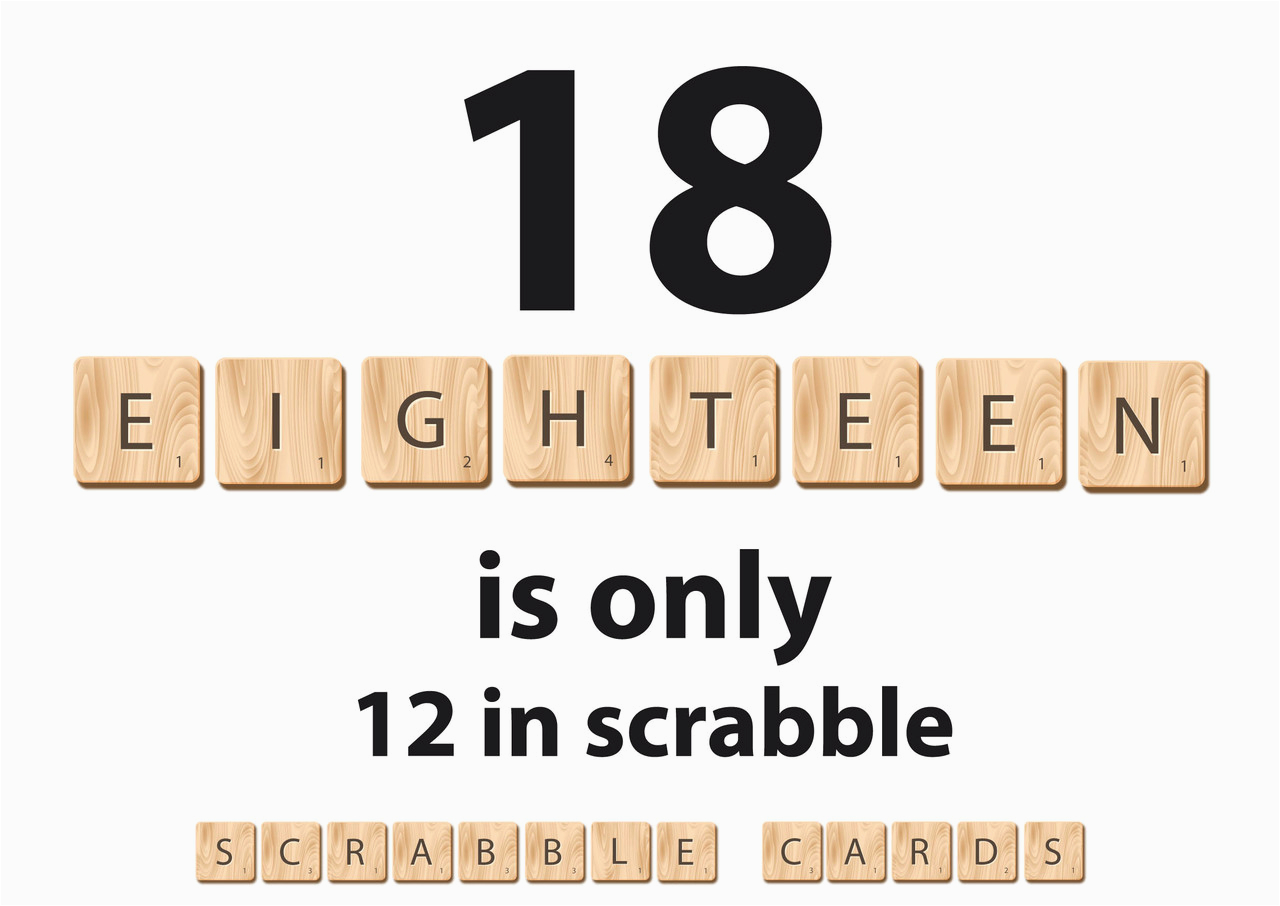 personalised 18 is only 12 in scrabble birthday card