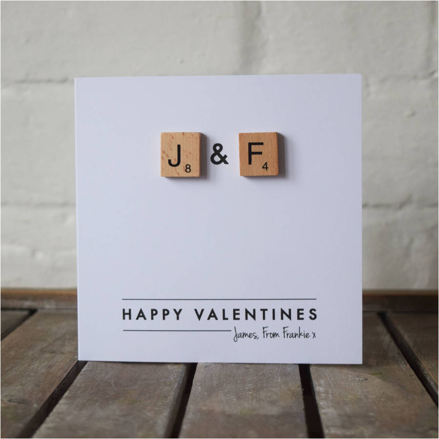 personalised scrabble couple valentines card by jg artwork