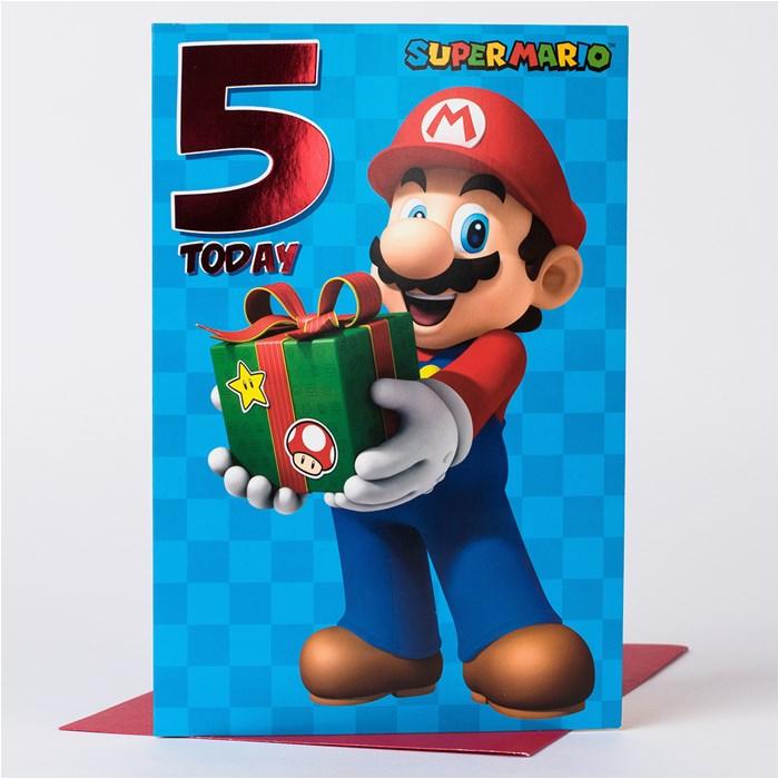 5th birthday card super mario