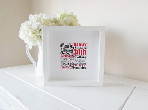 personalized 30th birthday gift framed print personalised word