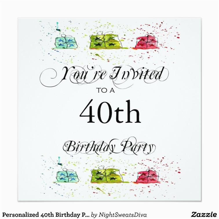 Personalized 40th Birthday Invitations Party Zazzle