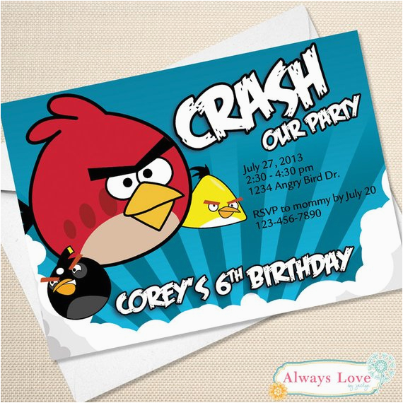 Personalized Angry Birds Birthday Invitations Custom