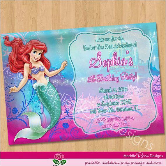 Personalized Ariel Birthday Invitations Invitation Little Mermaid