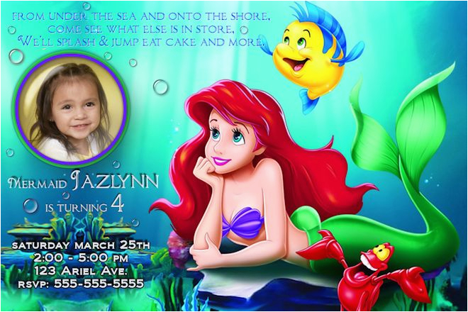 Personalized Ariel Birthday Invitations Little Mermaid Photo