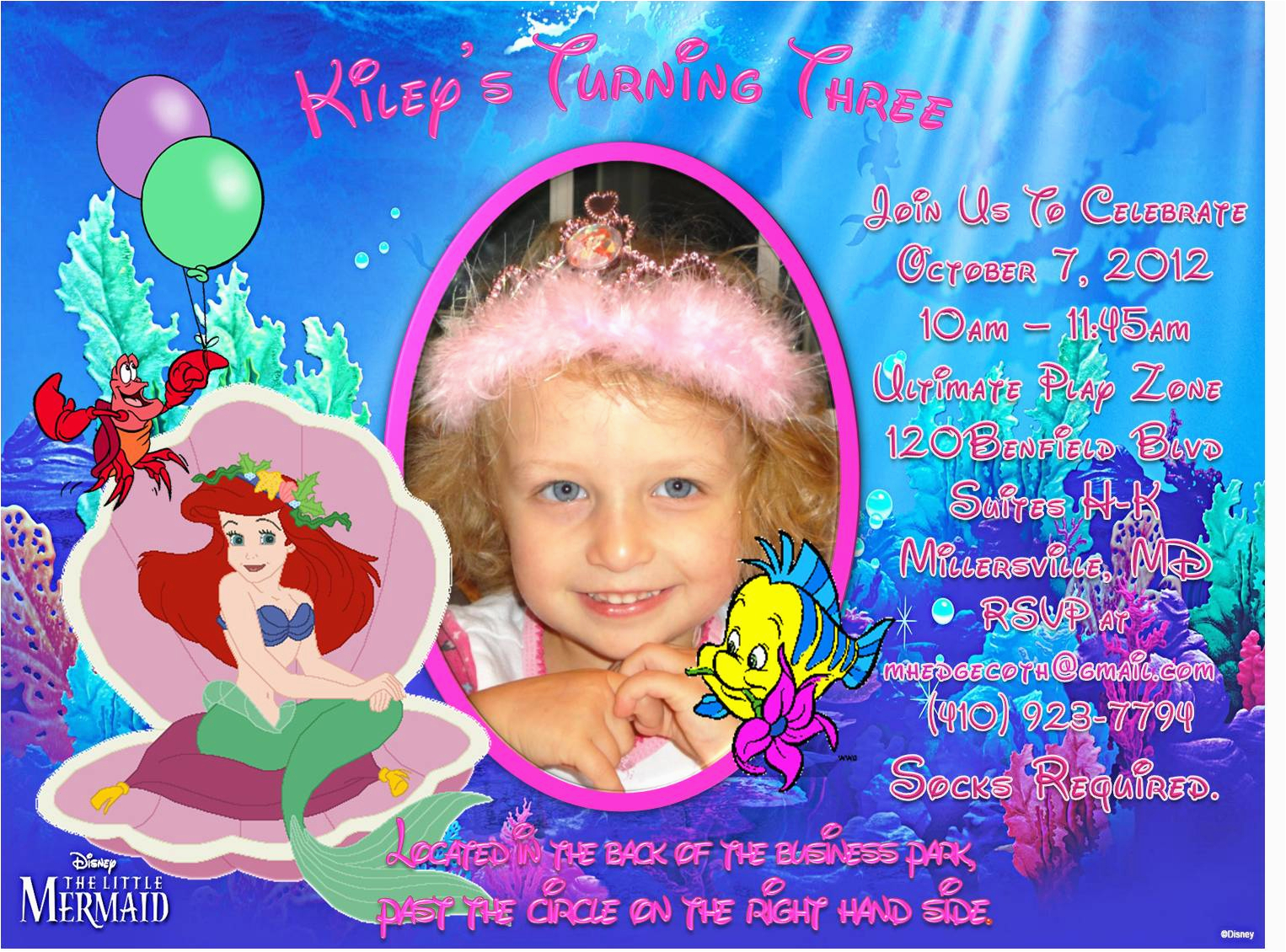 Personalized Ariel Birthday Invitations Little Mermaid Custom Photo Invitation