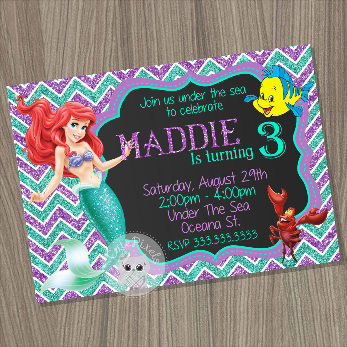 Personalized Ariel Birthday Invitations Little Mermaid Invitation Disney