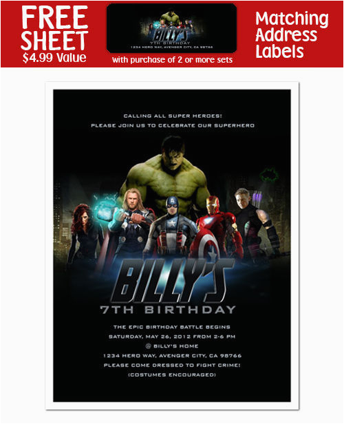 Personalized Avengers Birthday Party Invitations 8 Avengers Birthday Party Personalized Invitations Ebay