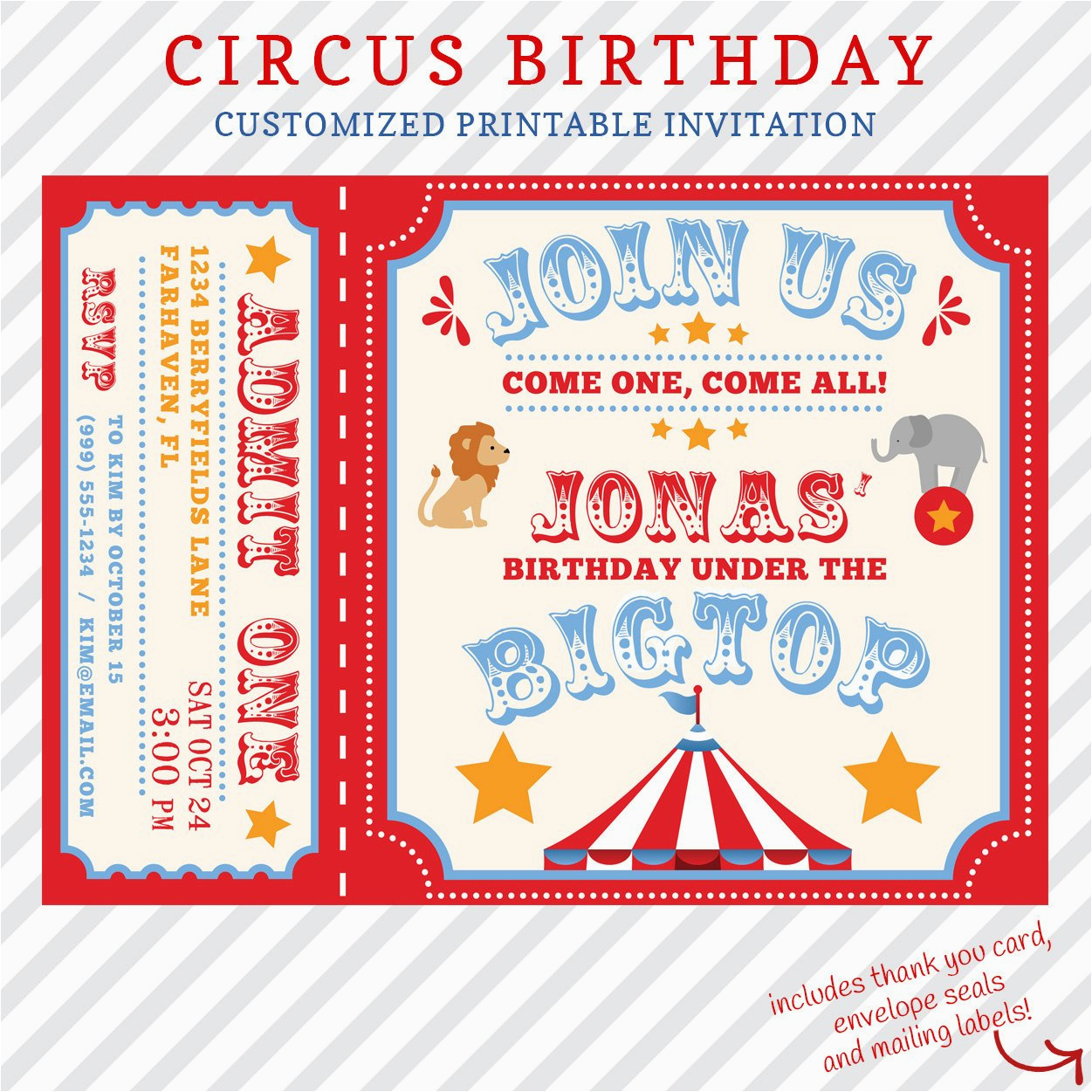 Personalized Birthday Invitations Free Circus Invitation Printable Custom With