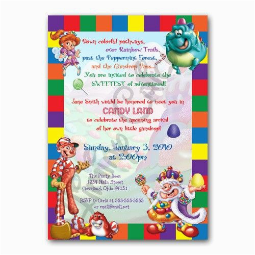 Personalized Birthday Invitations Walmart Candyland Or Shower Invitation