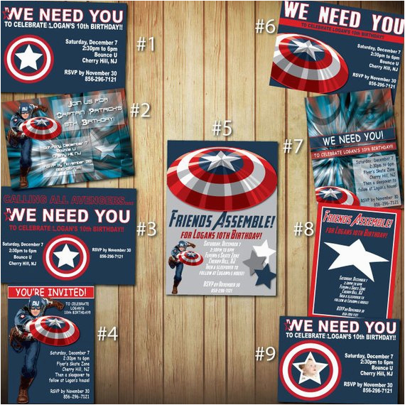 captain america birthday invitations