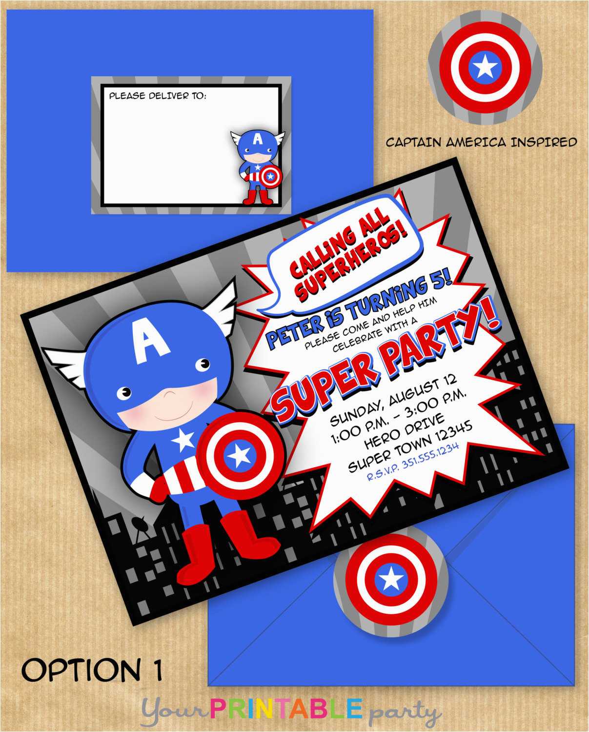captain america inspired invitation with