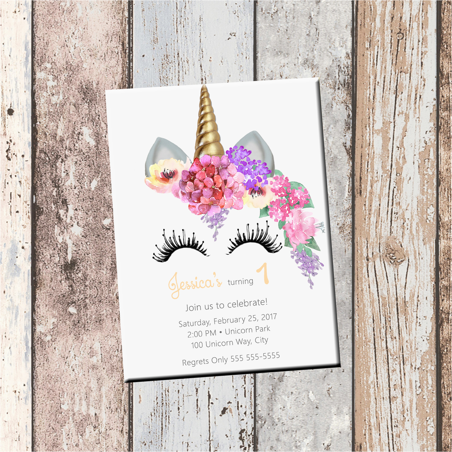 unicorn birthday personalized invitation 1 sided birthday
