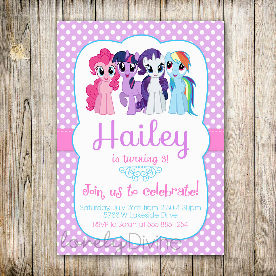 Personalized Invites for Birthday My Little Pony Personalized Birthday Invitations