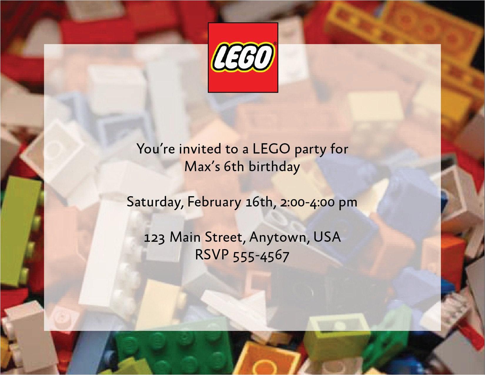 custom lego birthday party invitations