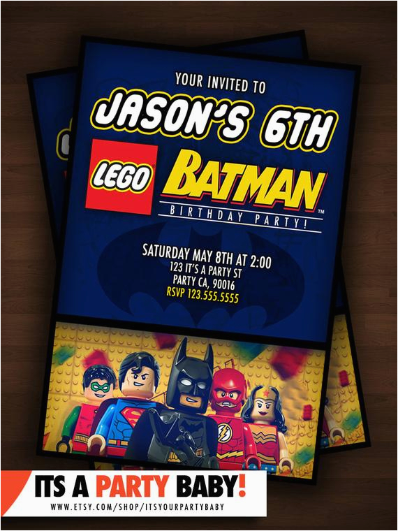 Personalized Lego Birthday Invitations Batman Party Invitation By Itsyourpartybaby