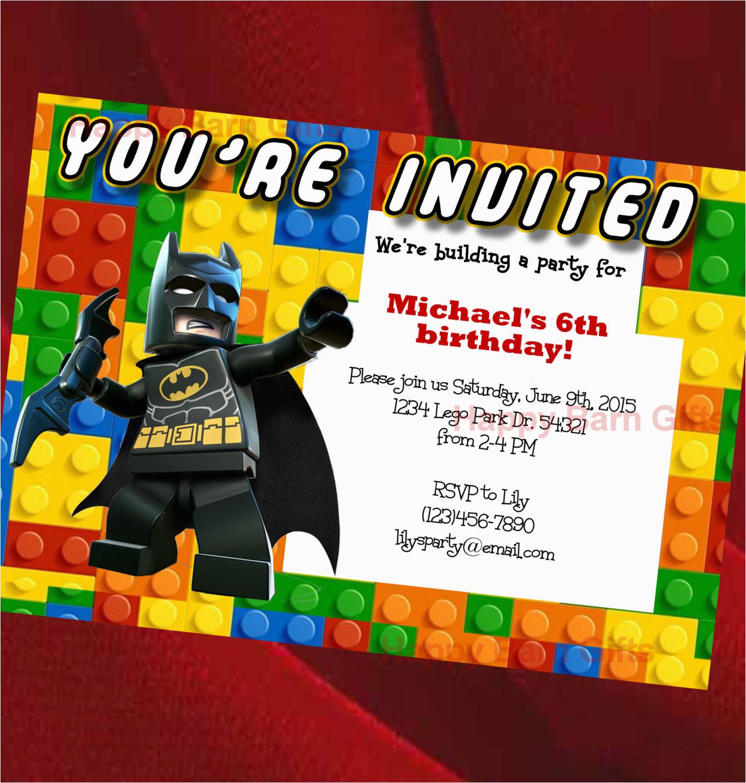 Personalized Lego Birthday Invitations Invitation Movie Batman By
