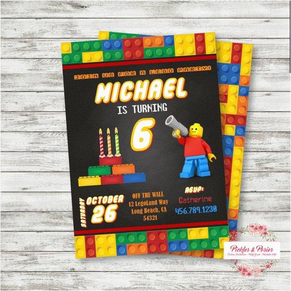 lego birthday invitation personalized