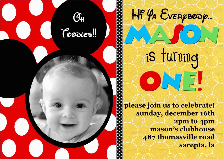 Personalized Mickey Mouse 1st Birthday Invitations Custom Ideas Bagvania Free