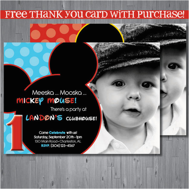 Personalized Mickey Mouse 1st Birthday Invitations Invitation First By