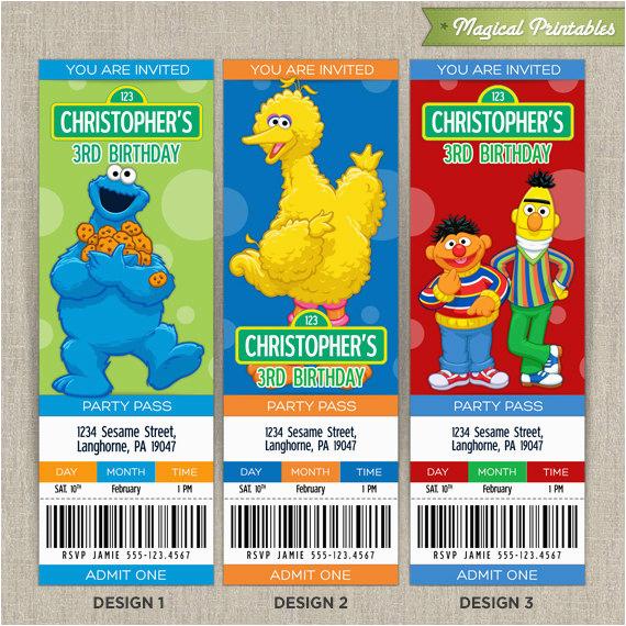 Personalized Sesame Street Birthday Invitations Ticket Invitation Cards