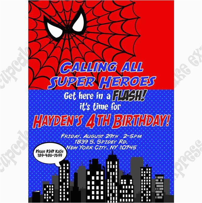 Personalized Spiderman Birthday Invitations Printable Party Invitation Diy
