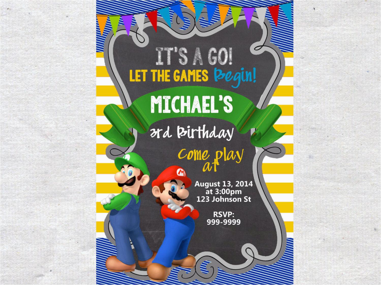 super mario brothers birthday invitation