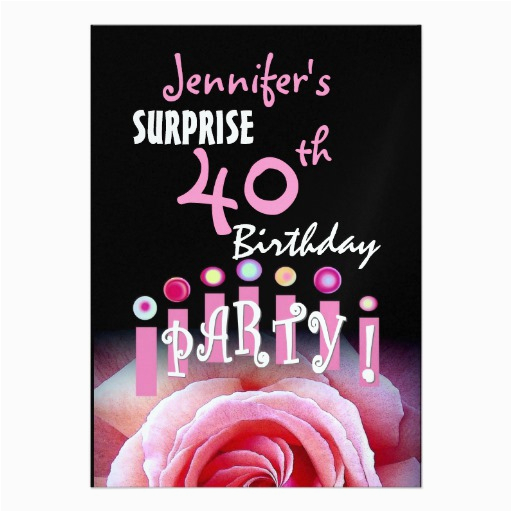 Personalized Surprise Birthday Invitations Custom 40th Party Invitation 5 Quot X 7