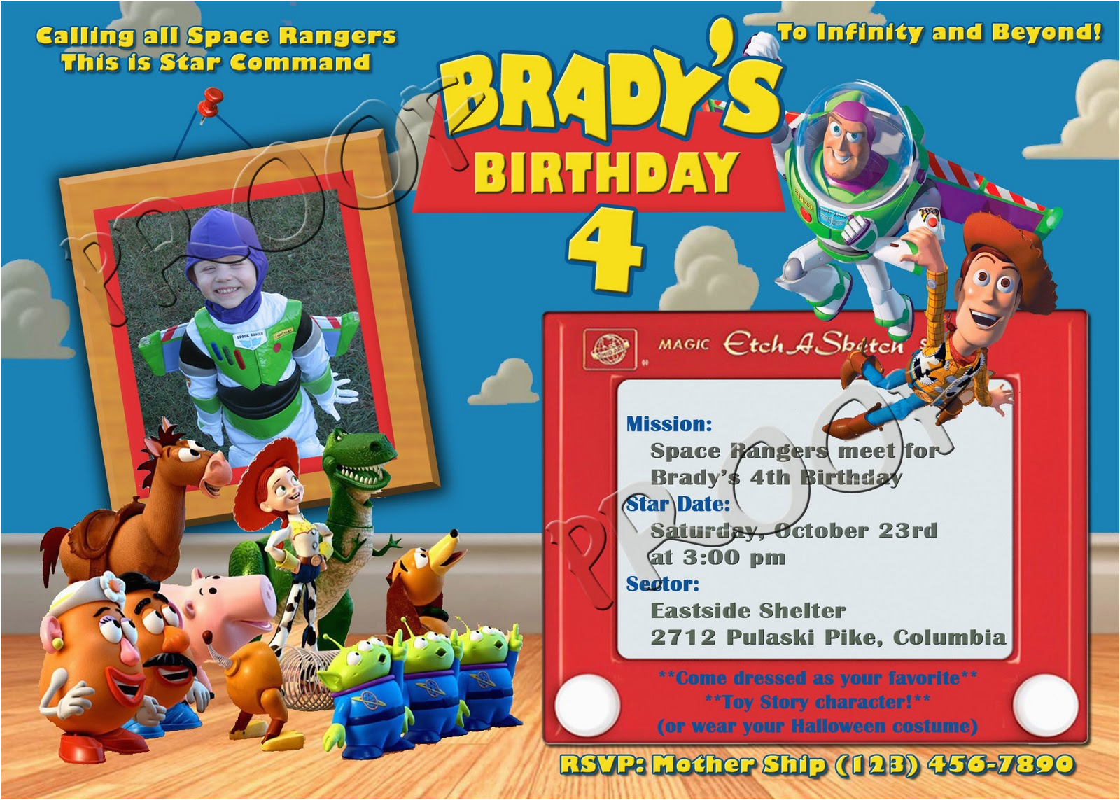 personalized toy story birthday invitations