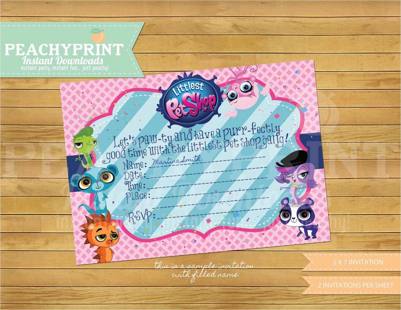 Pet Birthday Invitations Littlest Pet Shop Birthday Invitation Instant Download