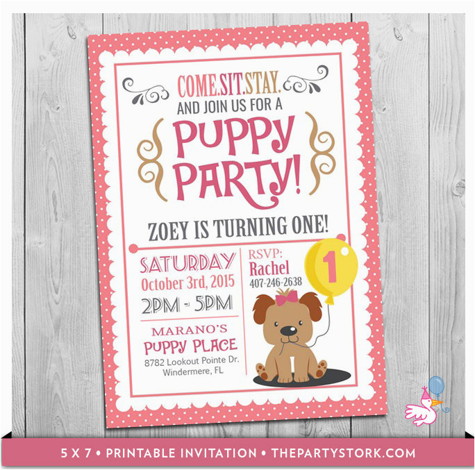 Puppy Invitation Custom Printable Girls