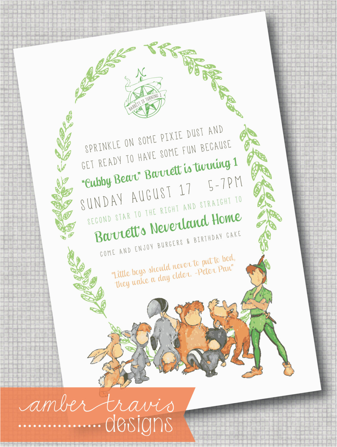 Peter Pan Birthday Invitations Peter Pan and the Lost Boys Invitation Never Growing Up