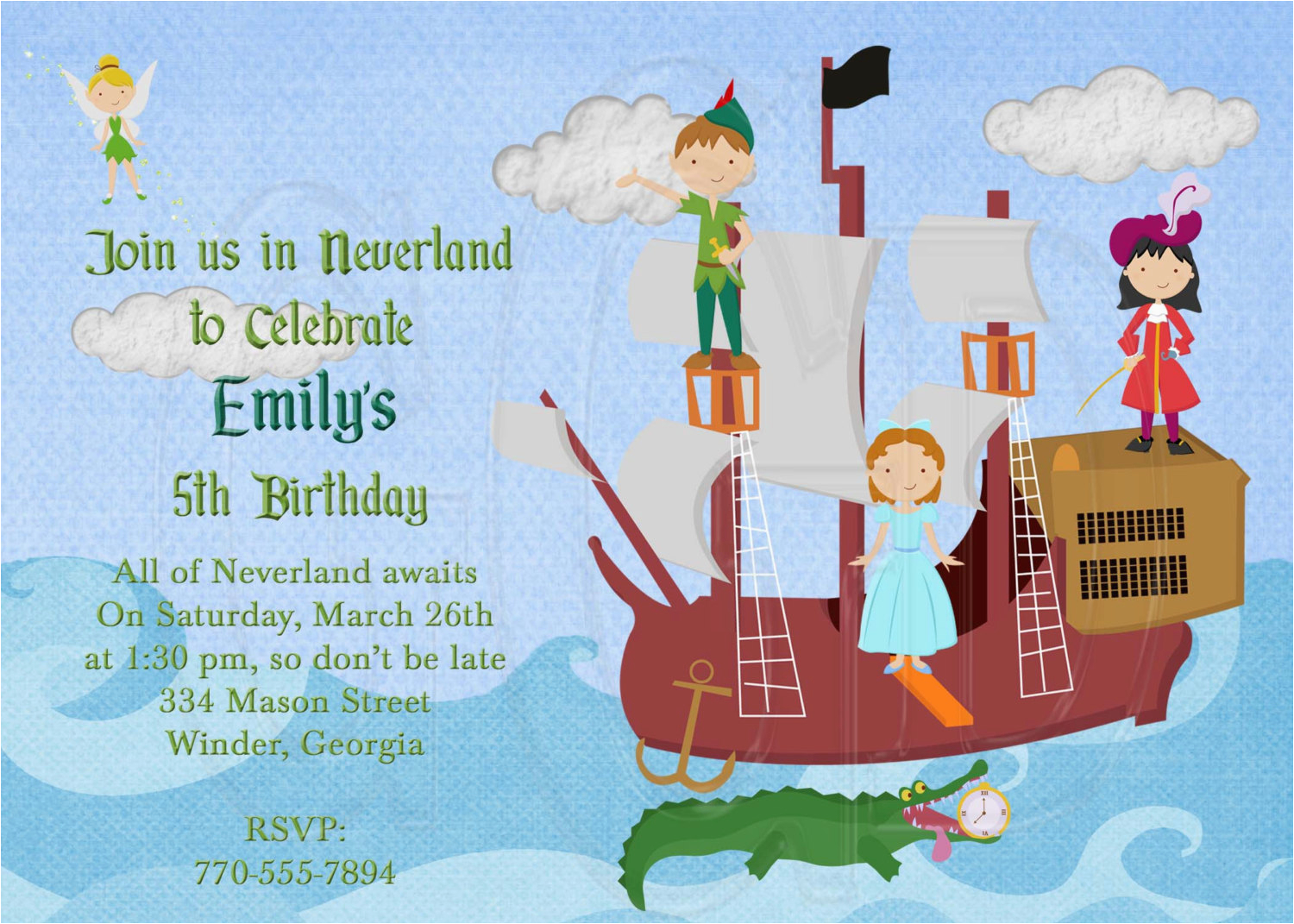 peter pan birthday party invitations