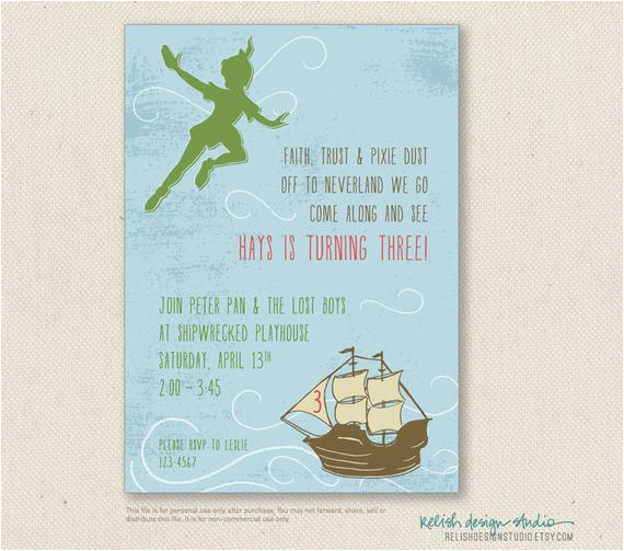 peter pan invitations printable or