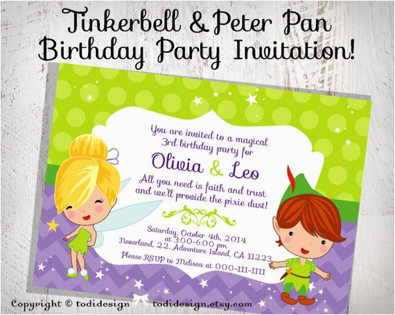 tinkerbell peter pan birthday party invitation 2