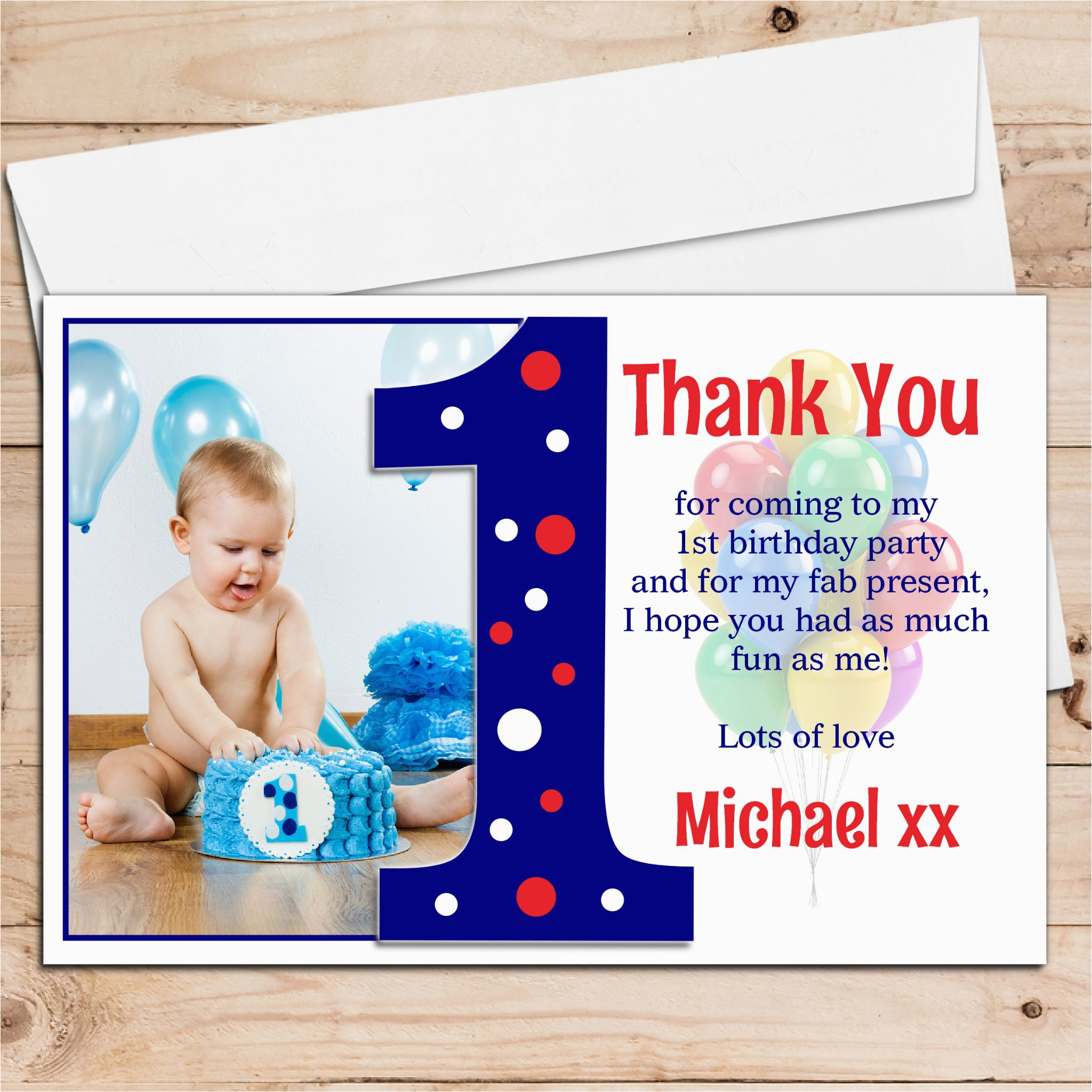 10 personalised boys first 1st birthday thank you photo