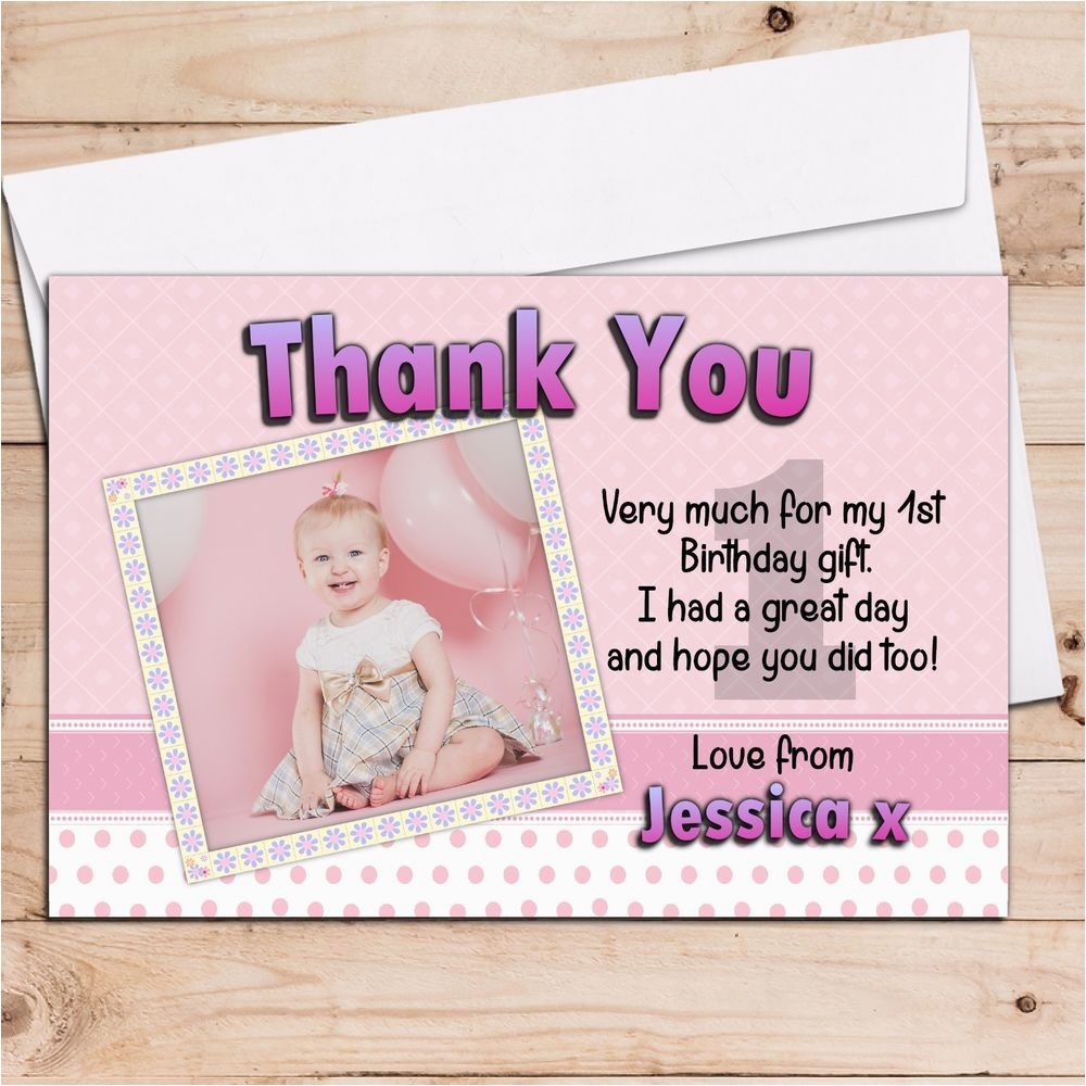 10 personalised girls 1st first birthday party thank you