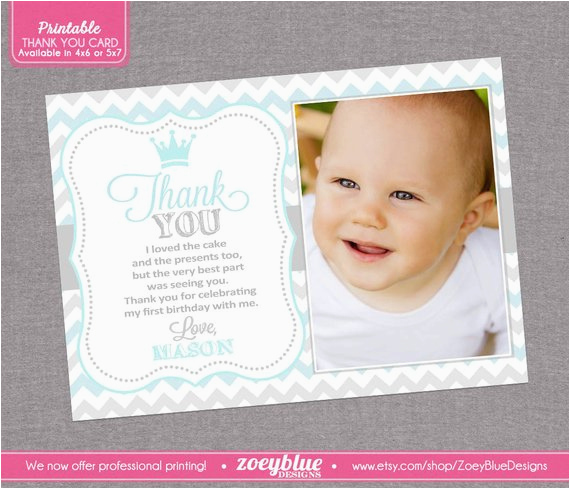 prince birthday thank you card 1st boy first by
