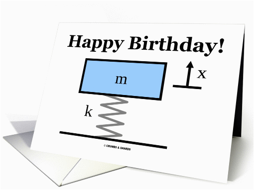 Physics Birthday Card Happy Birthday Physics Mass Spring Damper Illustration Card