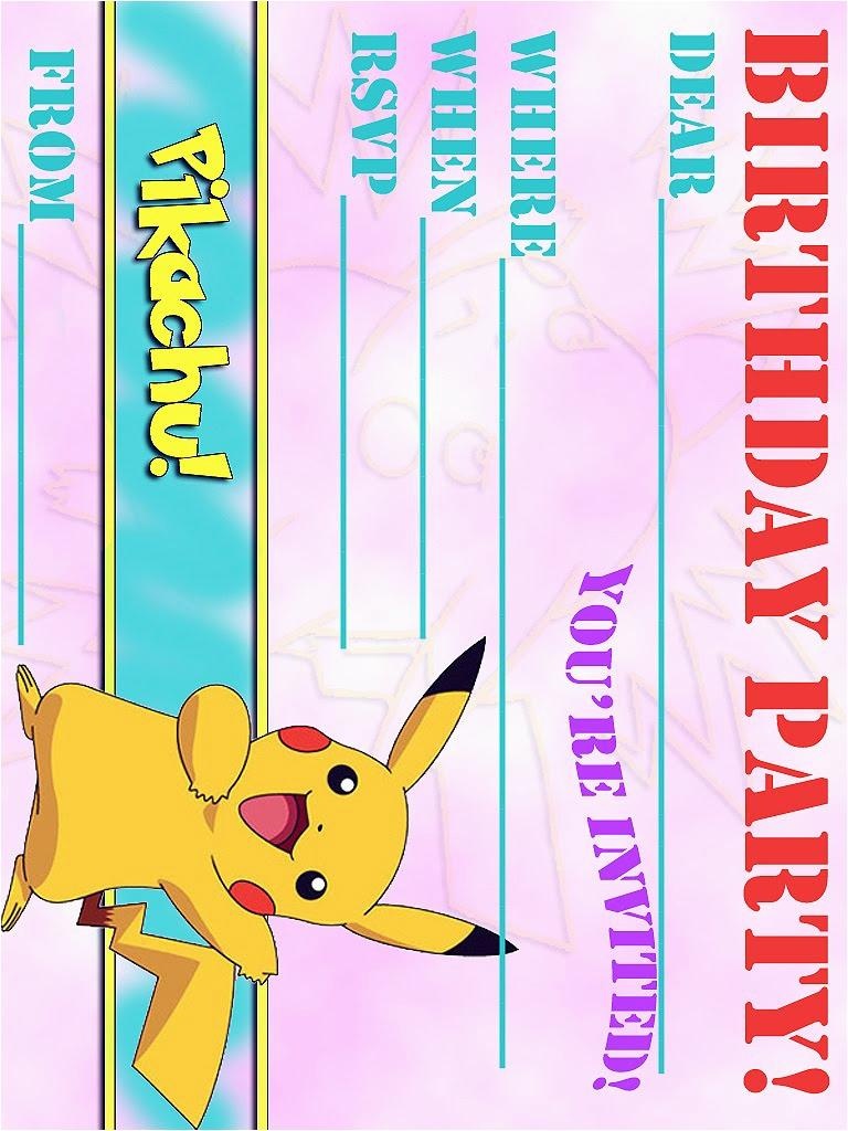 free pikachu party invitation