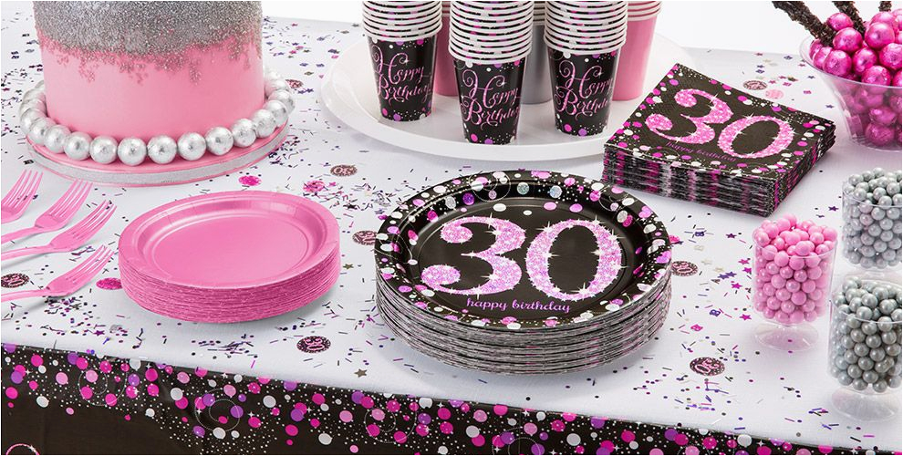 Pink Sparkling Celebration 30th Birthday Party Supplies Do