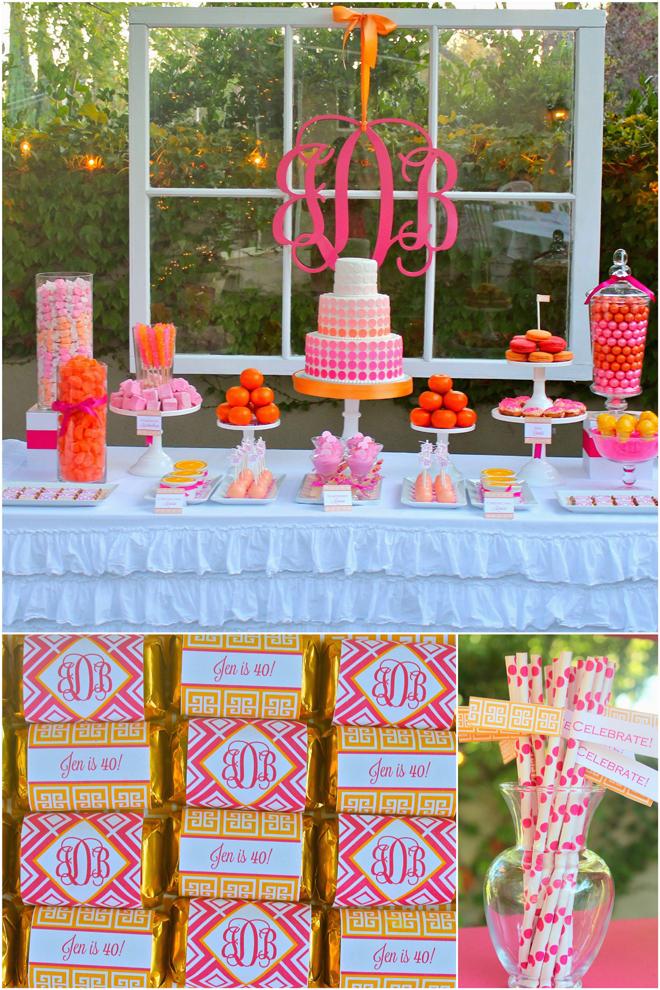 pink orange monogram 40th birthday party